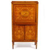 A LATE 19TH / EARLY 20TH CENTURY ROSEWOOD AND SATINWOOD INLAID MARQUETRY SECRETAIRE ABATTANT with
