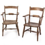 TWO LATE 19TH / EARLY 20TH CENTURY ASH AND ELM OXFORD PATTERN OPEN ARMCHAIRS with turned supports,
