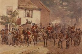 ORLANDO NORIE (1832-1901) The Royal Engineers outside an Inn on Dartmoor, circa 1880, watercolour,