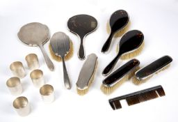 AN EARLY 20TH CENTURY SILVER AND TORTOISE SHELL BACKED DRESSING SET by Walker and Hall, further