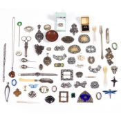 A COLLECTION OF PASTE BUCKLES, BROOCHES, white metal pendant set with a cabochon hard stone, various
