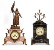 TWO LATE 19TH CENTURY CONTINENTAL MARBLE AND GILT MOUNTED MANTLE CLOCKS the largest 30cm wide x 15cm