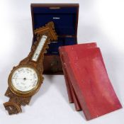 AN OAK ANEROID BAROMETER AND THERMOMETER with ceramic dial signed 'J Lizars of Glasgow', 27cm wide x