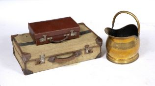 A 19TH CENTURY BRASS COAL SCUTTLE 35cm wide x 27cm high; an early 20th century canvas and leather