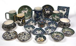 A COLLECTION OF EARLY 20TH CENTURY JERUSALEM TIN GLAZED POTTERY to include a jug and four