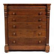 A 19TH CENTURY NORTH COUNTRY MAHOGANY CHEST OF SIX LONG GRADUATED DRAWERS with pilaster columns to