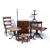 A MIXED GROUP OF FURNITURE consisting of an Edwardian demi lune fold over card table, 77cm wide x