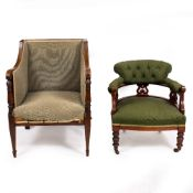 A VICTORIAN WALNUT GREEN UPHOLSTERED ARMCHAIR with turned front legs and ceramic casters together