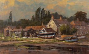 JOHN NEALE (LATE 20TH CENTURY ENGLISH SCHOOL) 'Boats and Reflections, Pinmill, Suffolk', oil on