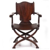 A 19TH CENTURY AND LATER MAHOGANY OPEN ARMCHAIR with a panelled back and seat with an X framed