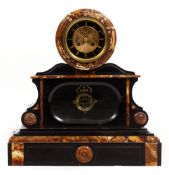 A LATE 19TH CENTURY FRENCH SLATE AND MARBLE MANTLE CLOCK the gilt and black enamelled dial with