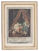 A SET OF SIX CLASSICAL FRENCH PRINTS Le Lever, Les Confidences, Le Coucher etc, each 17cm x 24cm,