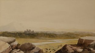 WILLIAM HENRY BARTLETT (1809-1854) Distant View of Harlech Castle, watercolour, 14cm x 24.5cm,