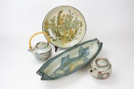 COLIN KELLAM (b.1942) comprising a dish, two teapots and a plate with impressed potter's seals, fish