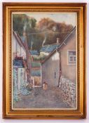 A COBBLED VILLAGE STREET watercolour, indistinctly signed Adams, 51cm x 34cm, framed and glazed,