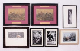 A PAIR OF DECORATIVE PRINTS from the series of Fores's Hunting Sketches, 26cm x 37cm together with a