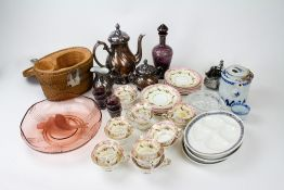A COLLECTION OF CHINA AND GLASS to include a part Copeland and Garrett porcelain teaset, a Chinese