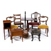 A GROUP OF OCCASIONAL FURNITURE consisting of an ebonised Oriental urn stand standing on cabriole