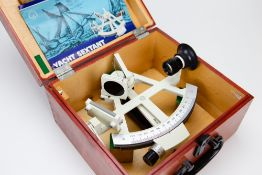 A LATE 20TH CENTURY SEXTANT manufactured in the German Democratic Republic in a fitted case, with