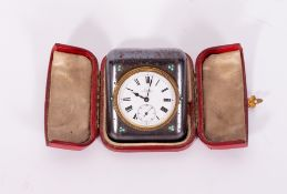 A SWISS MADE STEEL CASED DESK TIMEPIECE the enamelled dial with subsidiary second hand and set