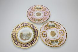 A PAIR OF 19TH CENTURY COPELAND AND GARRETT CABINET PLATES each painted with two landscape reserves;