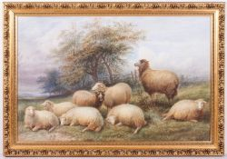 A WATERCOLOUR OF SHEEP resting in a field, signed T Sidney-Cooper RA lower right, 58.5cm x 89.5cm