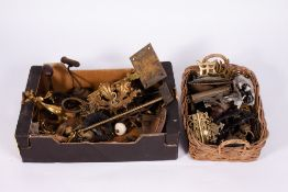 A COLLECTION OF BRASSWARE AND METALWARE to include furniture fittings including a set of nine