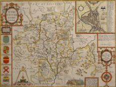 AN EARLY 18TH CENTURY HAND COLOURED MAP OF WORCESTERSHIRE by John Speede, 38cm x 50cm, framed and