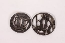 TWO LEAD JAPANESE TSUBA the largest 7.5cm diameter At present, there is no condition report prepared