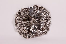AN ALESSI CHROME LOTUS LEAF DISH YHC01, 42cm wide with its original box Condition: good condition,