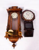 A VIENNA TYPE WALNUT CASED WALL CLOCK with two part dial, 46cm wide x approximately 120cm high