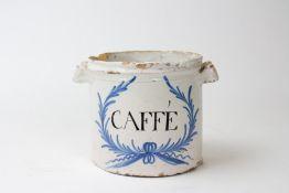 AN ANTIQUE FAIENCE TIN GLAZED CAFFE JAR 18.5cm diameter x 13.5cm high Condition: two large
