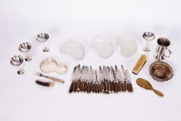 FIFTEEN LATE 19TH / EARLY 20TH CENTURY CUT GLASS SIDE DISHES together with eighteen large and ten