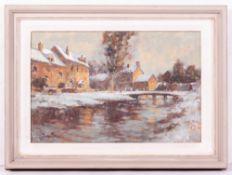 JOHN NEALE (20TH CENTURY ENGLISH SCHOOL) 'Winter in Lower Slaughter', oil on board, signed lower