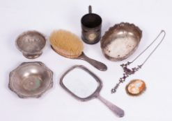 A SMALL GROUP OF SILVER AND JEWELLERY to include a silver backed mirror and brush, an 18th century