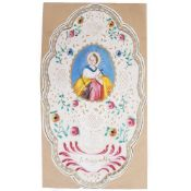 A LATE 18TH CENTURY OR EARLY 19TH CENTURY CUT PAPER CANIVET HOLY CARD with watercolour decoration,