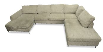 A FORZZA TALCA GREY UPHOLSTERED CORNER SOFA on brushed mild steel legs, in three sections,