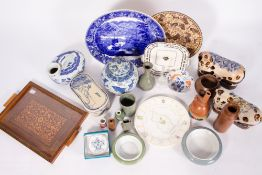 A GROUP OF ORIENTAL CERAMICS to include three pillows, contemporary bowls, further ceramics and