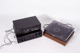 A YAMAHA AX-550 AMPLIFIER together with a Pioneer PD-8700 CD player and a Pioneer PL-12D