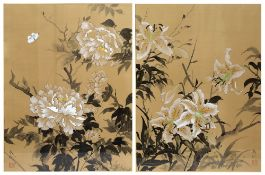 A PAIR OF ORIENTAL GOUACHE FLOWER STUDIES ON SILK each signed and with stamp, 65cm x 49cm Condition: