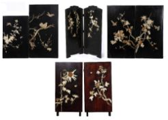 AN EARLY 20TH CENTURY JAPANESE BONE INLAID TWO FOLD SCREEN 75cm wide x 93cm high; six further
