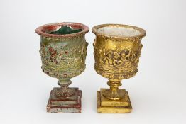 TWO SIMILAR GILDED, COMPOSITE POSSIBLY PLASTER, URNS each 21cm diameter x 34cm high Condition: