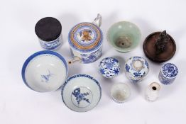 A COLLECTION OF ANTIQUE CHINESE PORCELAIN to include a blue and white porcelain teapot and cover;