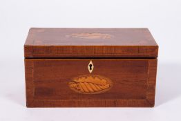 A GEORGE III WALNUT AND SATINWOOD CROSSBANDED TEA CADDY with shell inlay decoration, 26.5cm wide x