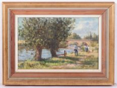 JOHN NEALE (20TH CENTURY ENGLISH SCHOOL) 'Fishing on the river', oil on board, signed lower right,