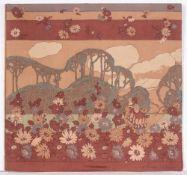 BERNARD NEVILL (b.1954) Flower landscape, pictorial silk, signed lower right, screen printed silk
