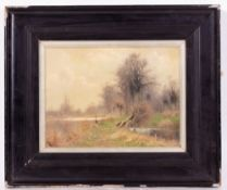 SIDNEY PIKE (1858-1923) River Scene with coppiced willows, oil on board, 22cm x 29cm, framed and