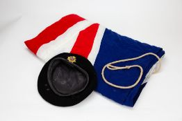 A MID 20TH CENTURY KANGOL WARE LIMITED BLACK FELT BERET together with a large Union Jack cotton