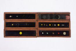 SIX 19TH CENTURY MAHOGANY FRAMED ASTRONOMY RELATED MAGIC LANTERN SLIDES each 29.5cm wide x 7.2cm