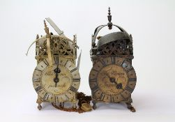 TWO 17TH CENTURY STYLE BRASS LANTERN CLOCKS each signed Thomas Moore, the largest 16cm wide x 36cm